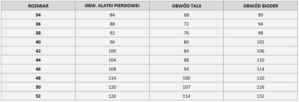 Tabela wymiarów marki Potis & Verso