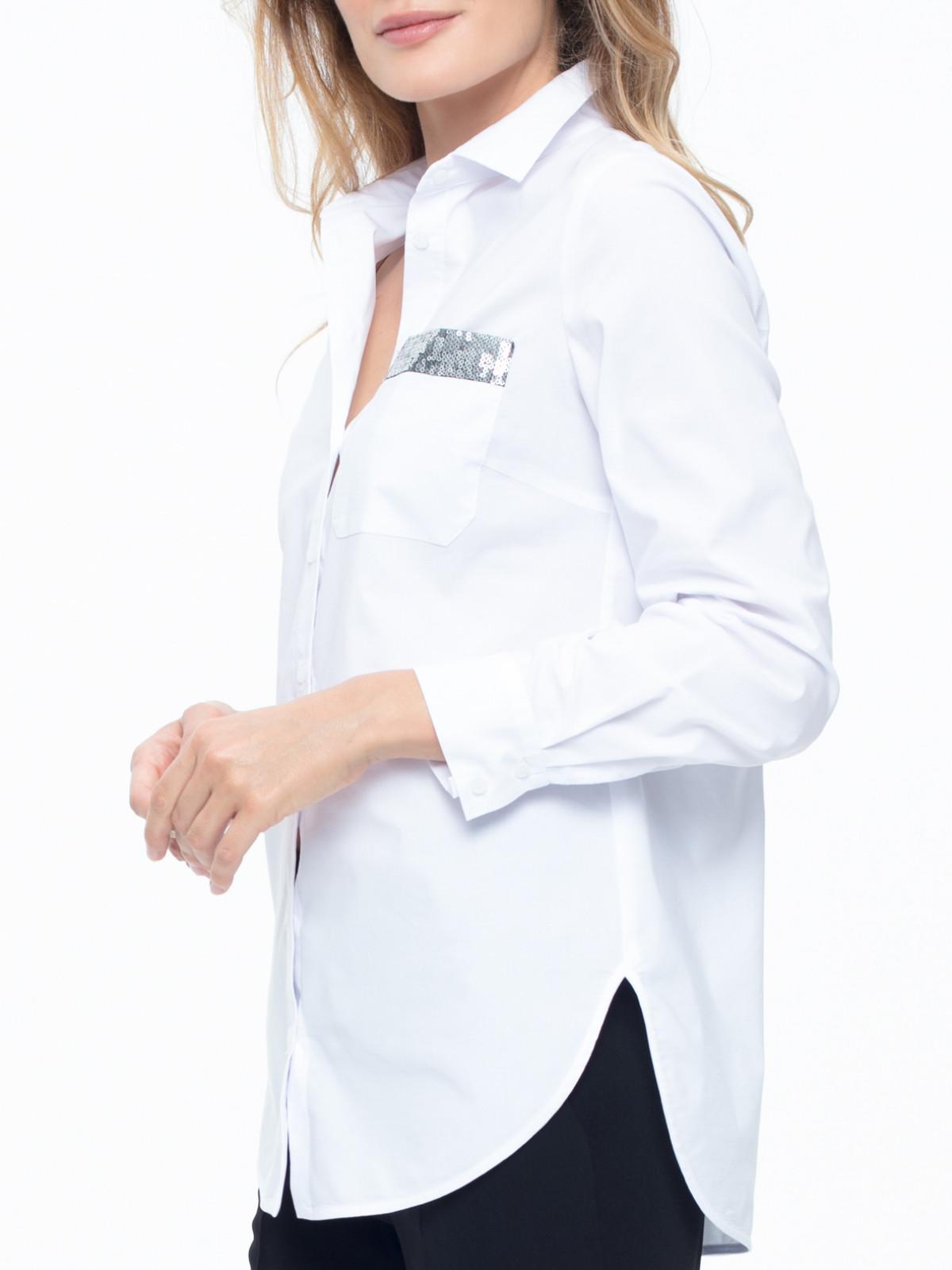 Biała koszula z ozdobną kieszenią Potis & Verso Barse