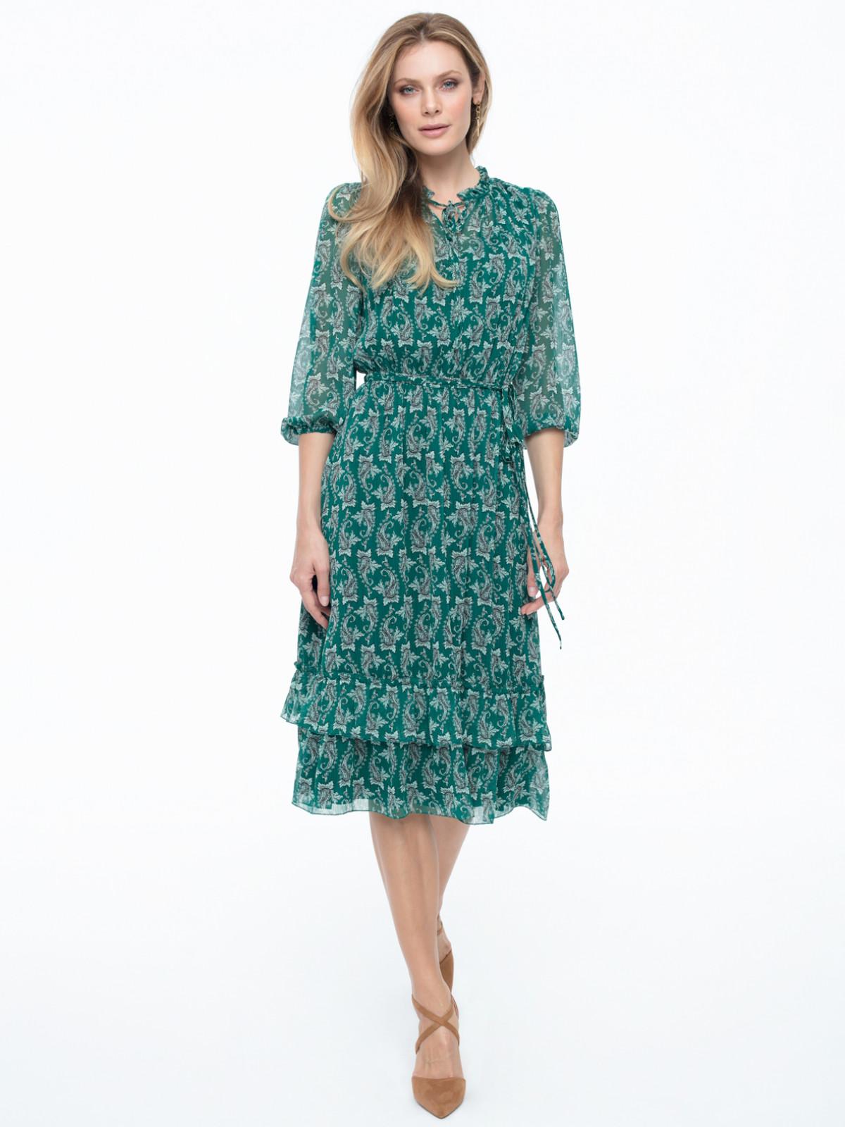 Zielona wzorzysta sukienka Potis & Verso Luiza