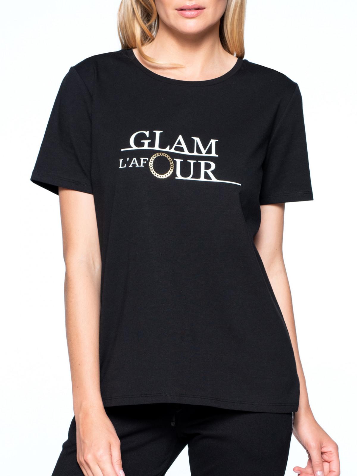 Czarny t-shirt z napisem L`AF GLAMOUR