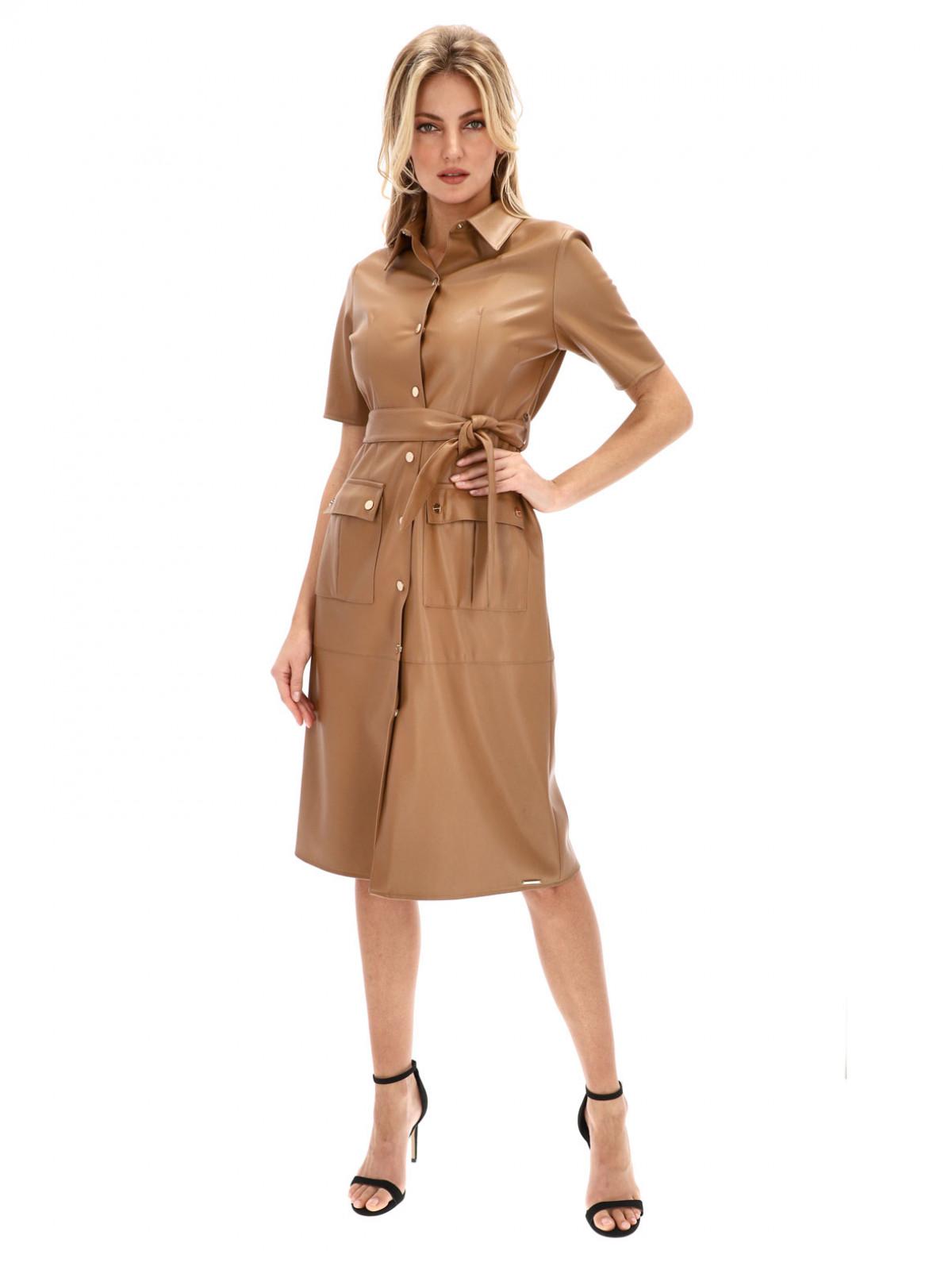 Brązowa koszulowa sukienka z skóry ekologicznej Rino & Pelle PACEY